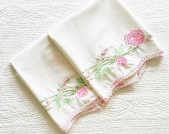 Vintage Romantic Home Mauve, Moss Green, and Shabby Pink Rose Adorned Pillowcases, Set of Two, Olives and Doves