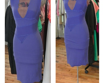 Purple Bandage Dress Vintage 1990s Pencil Dress Midi Party Dress Stretch Fitted Body Con Cocktail Dress Knee Length Wiggle Dress
