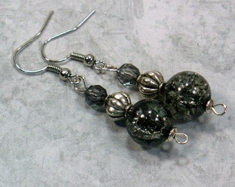 Black & Silver Drop Earrings: Glass Bead Dangle Earrings, Retro Styled Earrings, Nickle-Free Earwires, Gifts for Her, Handmade in the USA