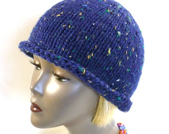 Hand Knit Hat: Blue Tweed Rolled Brim Hat, Knit Bucket Hat, Retro Style Woman's Hat, Handmade in the USA, Ready to Ship