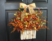 fall wreath fall wreaths Thanksgiving wreaths for front door wreaths fall home decorations berries berry outdoor wreaths