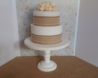 14 inch Wood Cake Stand / White Cake Stand / Large Cake Pedestal / Cupcake Stand / Rustic Cake Stand