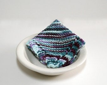 Large Hand Knit Washcloth/ Dishcloth in shades of blue and purple, colorful washcloth, dishcloth, Housewarming Gift, Shower Gift, Baby Gift
