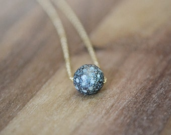 tiny diamond pave ball necklace /// 6mm diamond ball - genuine raw diamonds pave set in oxidized sterling silver /// mixed metal jewelry