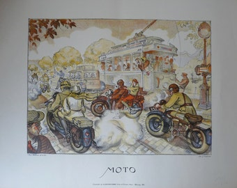 Vintage Art Print Color Lithograph Moto BERTRAND Max 1931 Paris