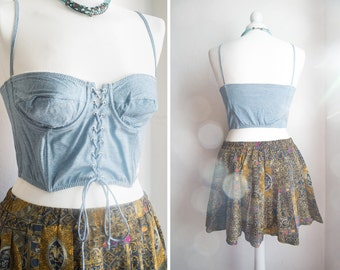 Vintage unique,beautiful sweet blue lace up bustier top, corset. Crop top boned, underwired cups. Pastel.Boho, Beach,Size S/M ,Size Cup : 38