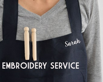 EMBROIDERY SERVICE for aprons. Custom japan apron. Customize your aprons with your name. Aprons. Linen Aprons