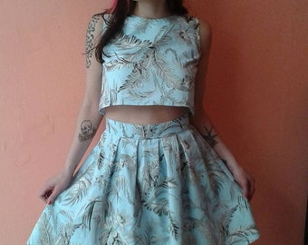 Floral Crop Top and Skirt Set, Light Blue Floral Dress Set, Crop Top and High Waisted Skirt,Summer Top and Skirt Set, Made to Order