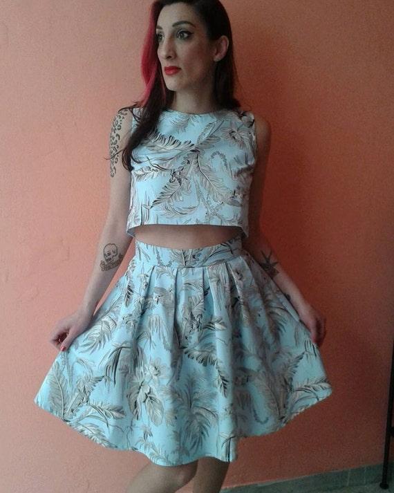 floral crop top and skirt set light blue floral dress set