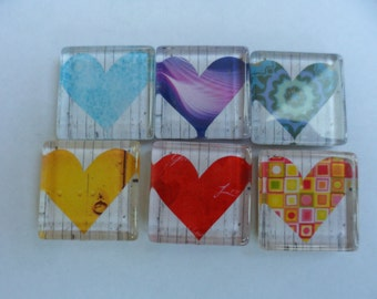 Heart Glass Magnet - 1 inch square