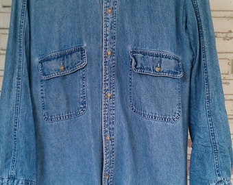 Vintage Jean Shirt / Vintage Denim Shirt Size: M