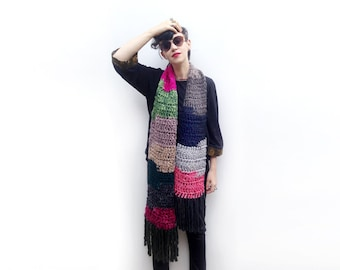 Color Block Chunky Wool Scarf, Long Crochet Scarf, Winter Accessories, Multicolor Scarf, OOAK, Gift Idea