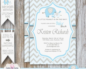 Baby Boy Shower Invitation, Elephant Baby Shower Invitation, Little Peanut Baby Boy Shower Invitation, Blue and Gray Elephant, DIY PRINTABLE