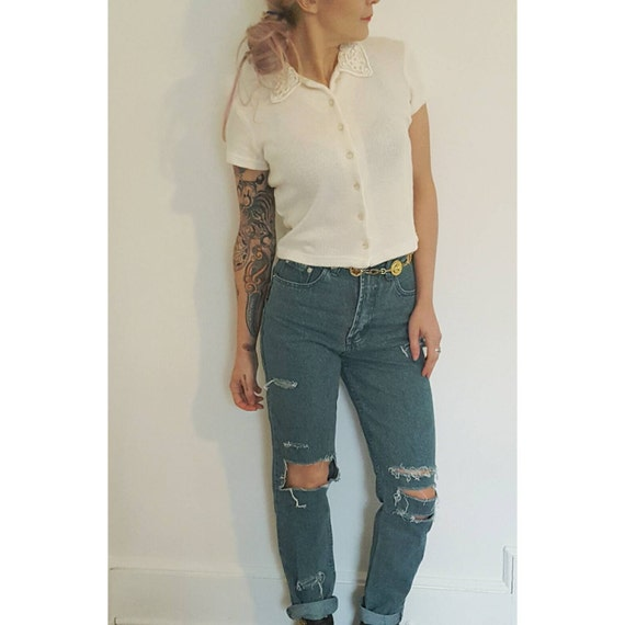 Size 4 High Waist 90's Jeans - Green Shredded Denim Small - Highwaisted Mom Holey Grunge Destroyed Ripped Knees Colorful Jeans
