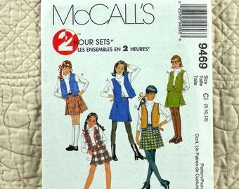 Girls, Skirt Vest, M L, McCalls 9469 Pattern, FREE SHIP, Front Buttons or Zipper, Lined, Pleats, 1998 Uncut, Size 8 10 12