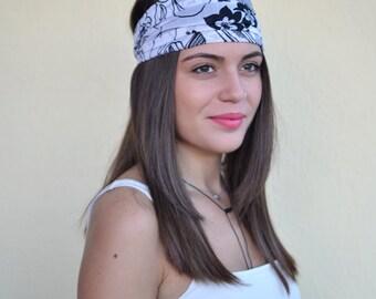 Cotton Headband, Floral, Handmade Headbands, Hippie Headband, Fashion Headbands, Womens Head Wraps, Vintage Headbands, Hair Accessories