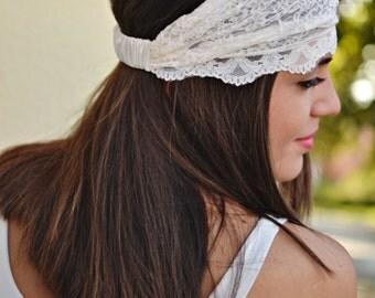 Ivory Headband, Lace Headband, Bohemian Headband, Wedding Headband, Bridesmaid Headband, Womens Turban, Womens Headband, Vintage Headbands