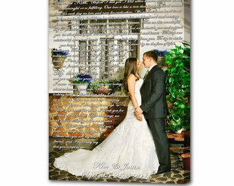 Vows on canvas. Custom canvas print. Anniversary Gift. Wedding Photo with Vows/Lyrics/Poem Custom Canvas Print. Framed canvas.