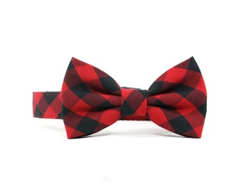 Red Gingham Dog Bow Tie Collar Black Check Buffalo Plaid Dog Bowtie Collar Winter Dog Collar Bow Tie - Darcy