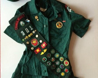 Vintage Girl Scouts Outfit  Amazing! - Complete Set w Blouse Skirt 2 Hats & Great Sash Filled with Many Pins and Patches!