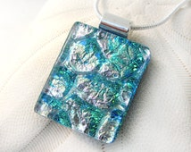 103 Mermaid Scales Pink Turquoise Teal Fused Glass Pendant Necklace Dichroic Glass Jewelry Glass Fusion Pendant Pink Aqua Necklace Aqua Teal