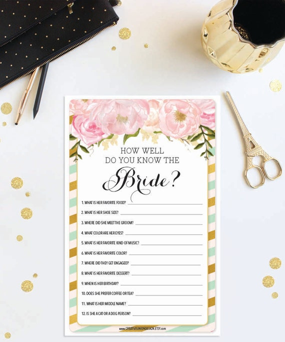 Instant Download How Well Do You Know The Bride Mint And