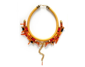 Ethnic Statement Necklace, African Necklace, Tribal Rope Necklace, Bib Necklace in yellow, red, black, orange