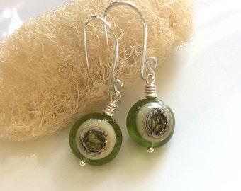 Green Glass  Earrings / Lime Green Earrings / Lampwork Glass Earrings / Sterling Silver Earrings / Glass Dangle Earrings