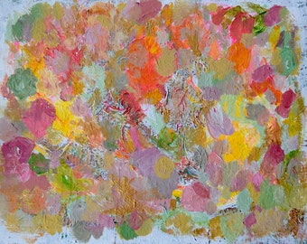 """Abstract Painting Original Acrylic Modern Art Colorful Fine Art Pink Green Gold Contemporary 11"""" x 14"""" Home Decor Canvas Art"""
