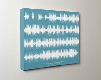 Custom Wedding Song Art Print Sound Wave Canvas For Him - Cotton Anniversary, Second 2nd Anniversary Gift for Her, for Wife, for Couple