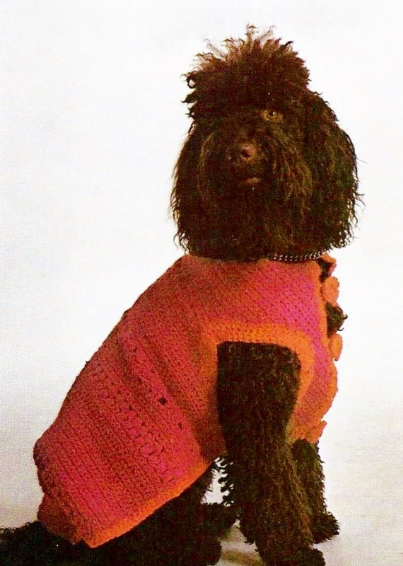Knitting Pattern For Medium Sized Dog : Dog Sweater for Medium to Large Dogs with Knitted Collar