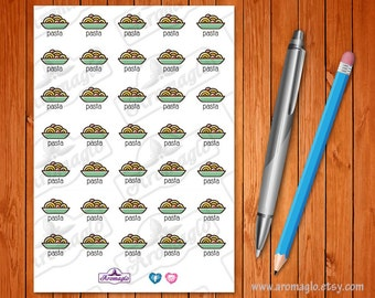 Pasta Stickers to help Plan your Family Meals. Easy Dinner Choices. 35 icons to use in your Filofax, Erin Condren, Kikki K or Happy Planner