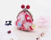 Kimono Coin Purse Silk,Candy Big Red Bead Clutch, Sakura and Bamboo In Pink,Oriental Bag,Jewelry Case NO.Clutch5