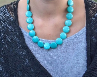 SALE- Single Strand Turquoise Necklace, Necklace, Turquoise Necklace, Turquoise Statement Necklace, Bohemian Necklace