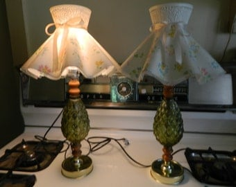 Accent lamp pair / Bedroom lamps / shabby cottage chic lamps / mid century lamps / green quilted glass