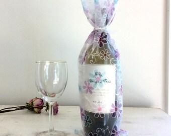 Wine Bag Flower Motif Translucent Aqua Purple White Aqua Flowers Party Bag Gift Bag bottle Bag Mother's Day Gift Bag Spring Summer PartY Bag