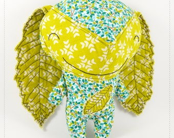 woodland stuffed toy for babies, green and blue baby eco toy | Smiley  Ouriço