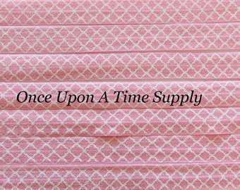 Light Pink and White Quatrefoil Print Fold Over Elastic for Baby Headbands - 5 Yards of 5/8 inch FOE - Elastic By The Yard