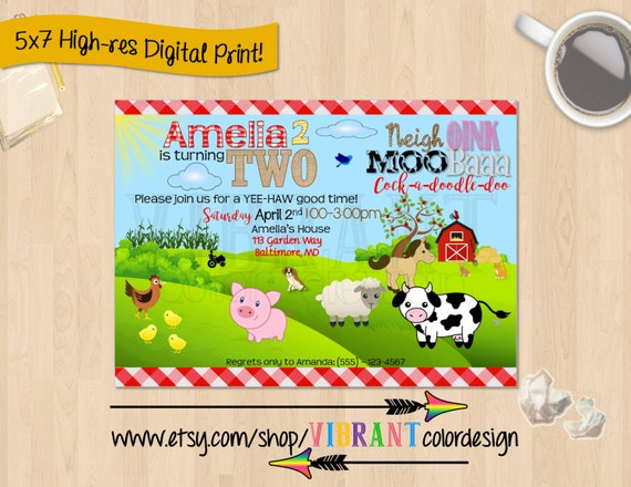 Farm Birthday Invitations Old McDonald Invitations Farm Theme