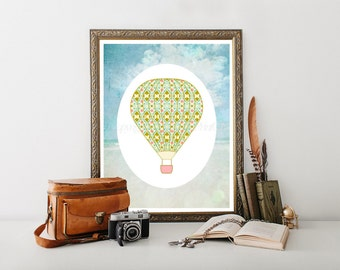 Hot Air Balloon Decoration, Hot Air Balloon Nursery Printable,Hot Air Balloon Printable, Hot Air Balloon Decor, HotAir Balloon 0213
