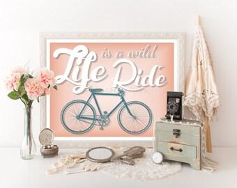 """Bicycle Download Print 10""""x8"""", Bicycle Digital Download, Bicycle Printable, Bicycle Quote, Bicycle Decor, Bicycle Decor Bike Printable 0011"""