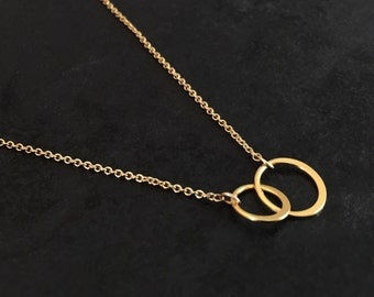Gold Interlocking Circles Necklace - Small - Gold Filled - Vermeil - Linked - Double - Two - Entwined - Small - Mother Sister Friend