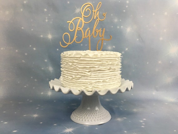 Gold Baby Shower Cake Topper, Glitter Baby Shower Cake Topper, Oh Baby Cake Topper, Baby Shower Cake Topper, Gender Reveal Cake Topper