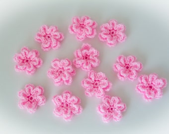 Crochet flower appliques, baby accessories, Two layers flower, craft supplies, small flowers, mini flowers, crochet embellishments /set of 6