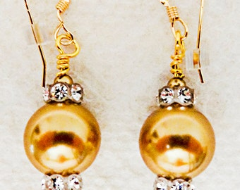 1012W - Bridal earrings, bridal jewelry, bridal, wedding earrings, wedding jewelry, wedding, gold pearl, rhinestone spacers, one of a kind