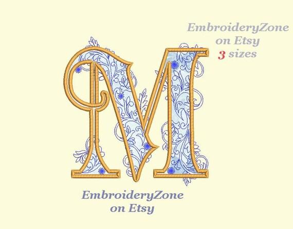 large letter m applique machine embroidery design monogram m