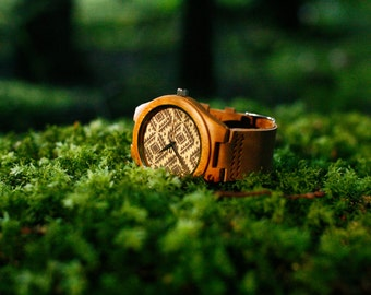 Bamboo Wood Watch with Genuine Leather strap by WOODEER.