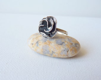 Sterling Silver Flower Ring Vintage Oxidized Silver Rose Ring 925, Retro Oxidized Sterling,Ring size 8.5 ,70's Floral Ring,Boho Ring Jewelry