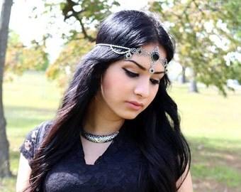 Black agate elven circlet-fairy circlet-elf circlet-elf headdress-elven circlet-elven headpiece-gothic circlet-elven headdress