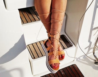 Gladiator Sandals - Lace up Platforms. Ancient Greek Sandals - Genuine Leather.